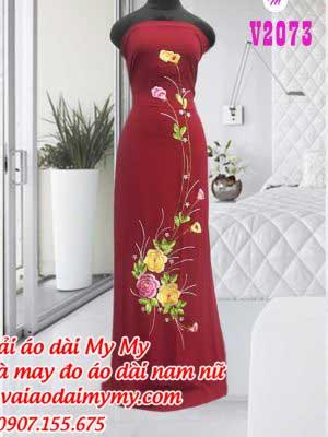 Vai Ao Dai Theu Hoa Hong