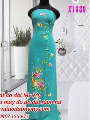 Vai Ao Dai Theu Hoa Mau Xanh Ngoc