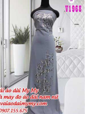 Vai Ao Dai Theu Hoa Nhe Nhang