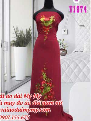 Vai Ao Dai Theu Hoa Sen