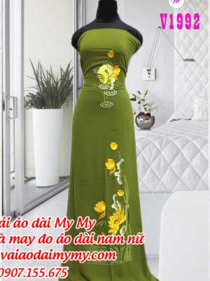 Vai Ao Dai Theu Hoa Sen Hang Dep