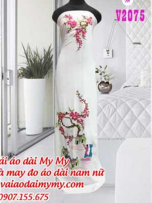 Vai Ao Dai Theu Phong Canh Dep
