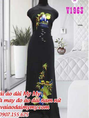 Vai Ao Dai Theu Phong Canh Dep Nhe Nhang