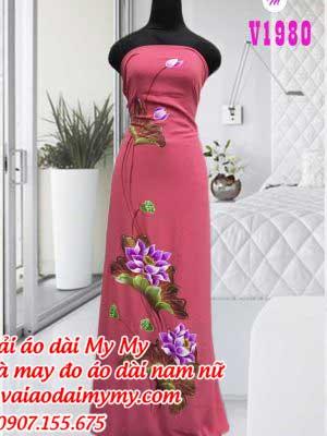 Vai Ao Dai Ve Hinh Hoa Sen