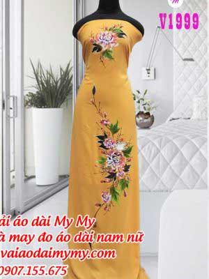 Vai Ao Dai Ve Hoa Mau Vang Dat