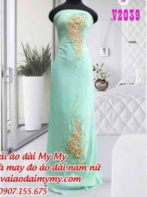Vai Ao Dai Xanh Ngoc Dinh Hoa Chum Nho