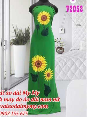 Vaii Ao Dai Ve Hoa Huong Duong