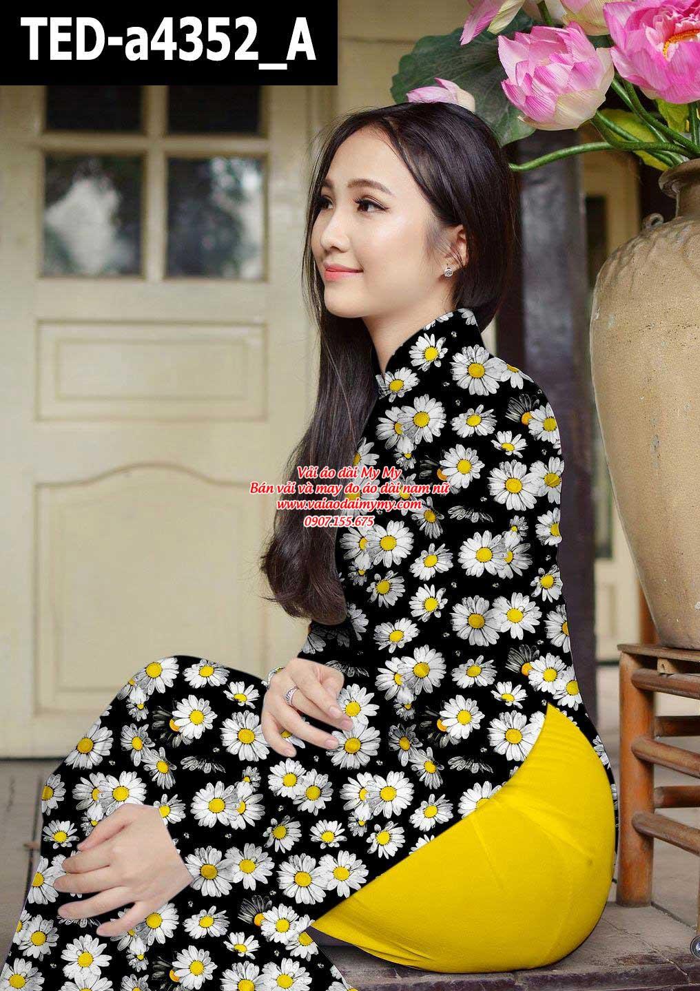 Vải áo dài hoa cúc đều AD TED a4352 1