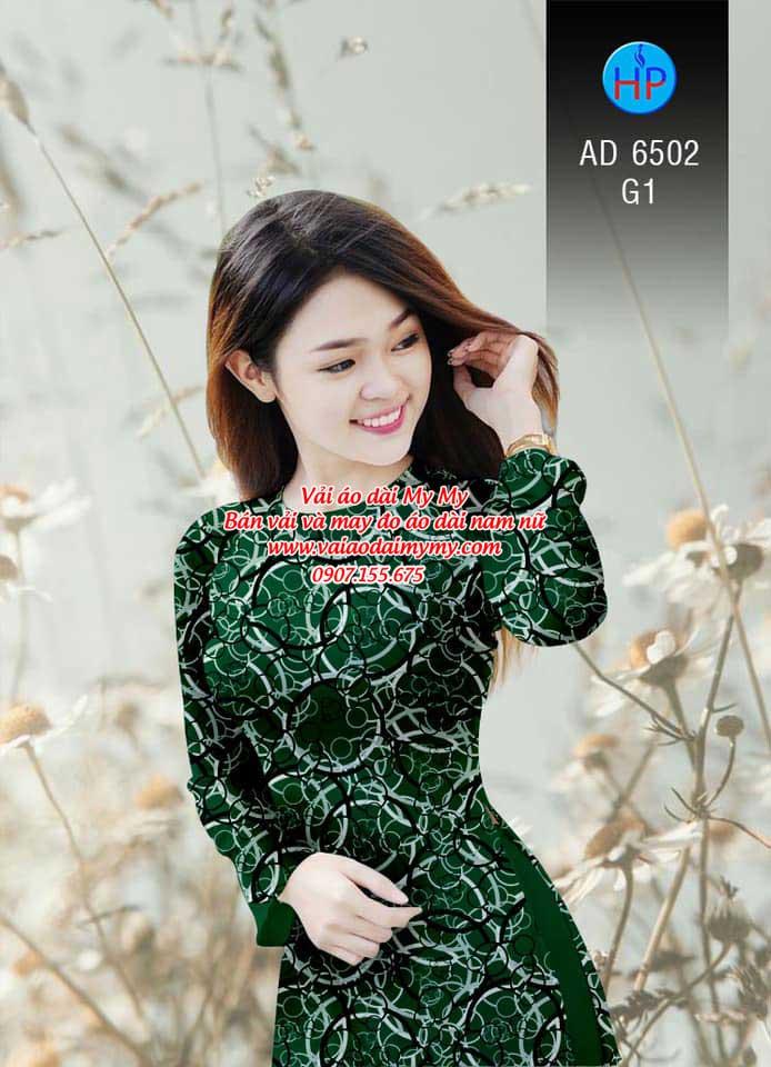 Vải áo dài Vòng tròn đan xen AD 6502 3