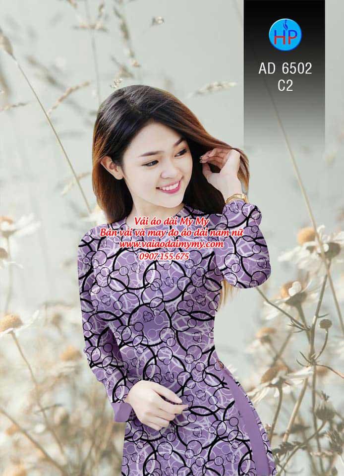 Vải áo dài Vòng tròn đan xen AD 6502 4