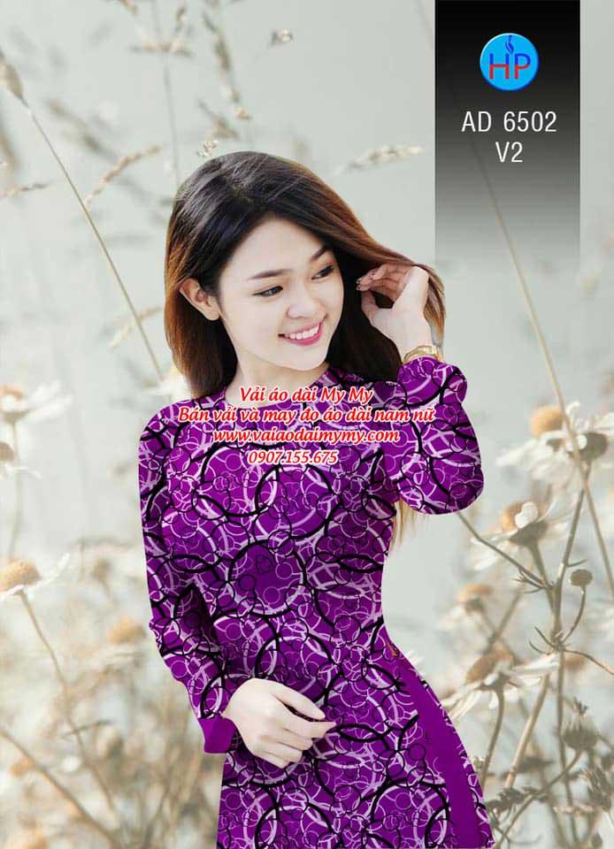 Vải áo dài Vòng tròn đan xen AD 6502 10