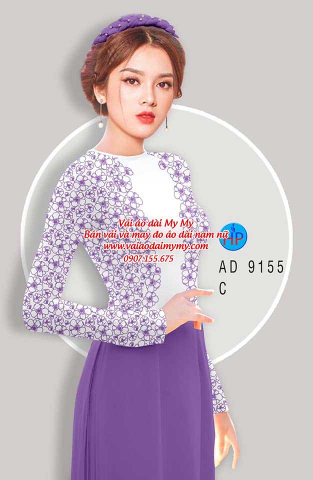Vải áo dài Hoa in 3D AD 9155 2