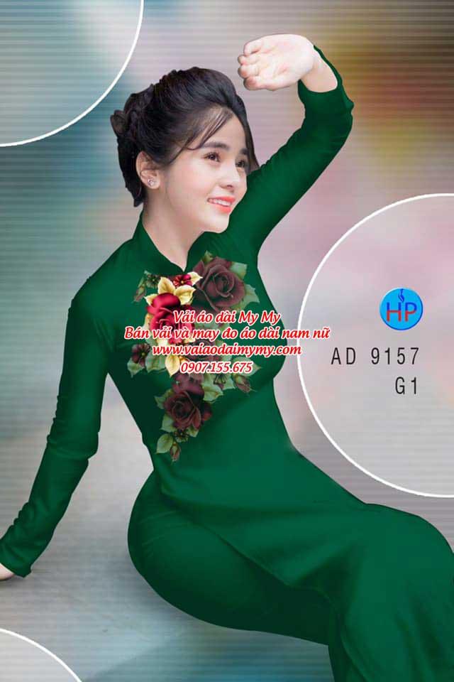 Vải áo dài Hoa Hồng 8/3 AD 9157 3