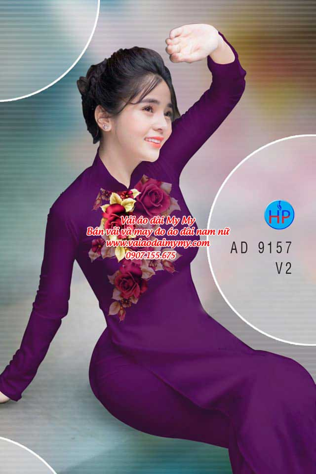 Vải áo dài Hoa Hồng 8/3 AD 9157 9