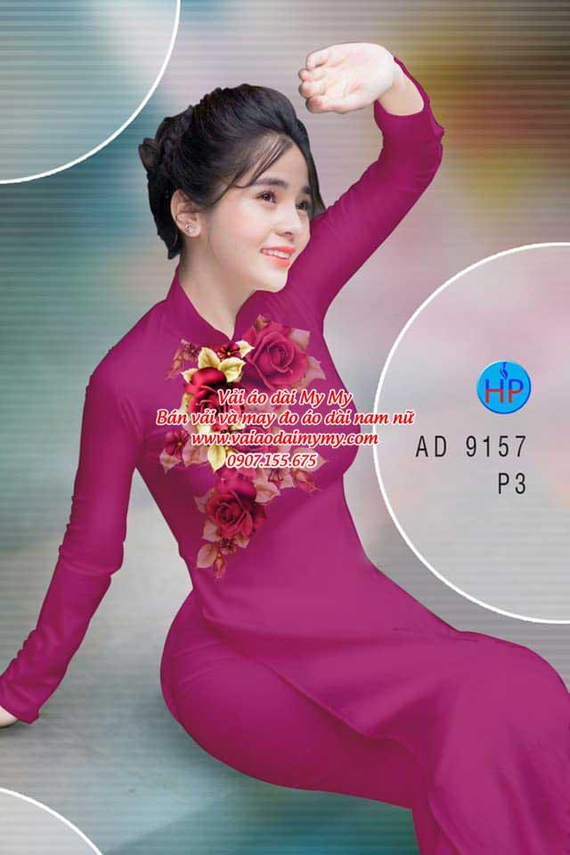 Vải áo dài Hoa Hồng 8/3 AD 9157 6