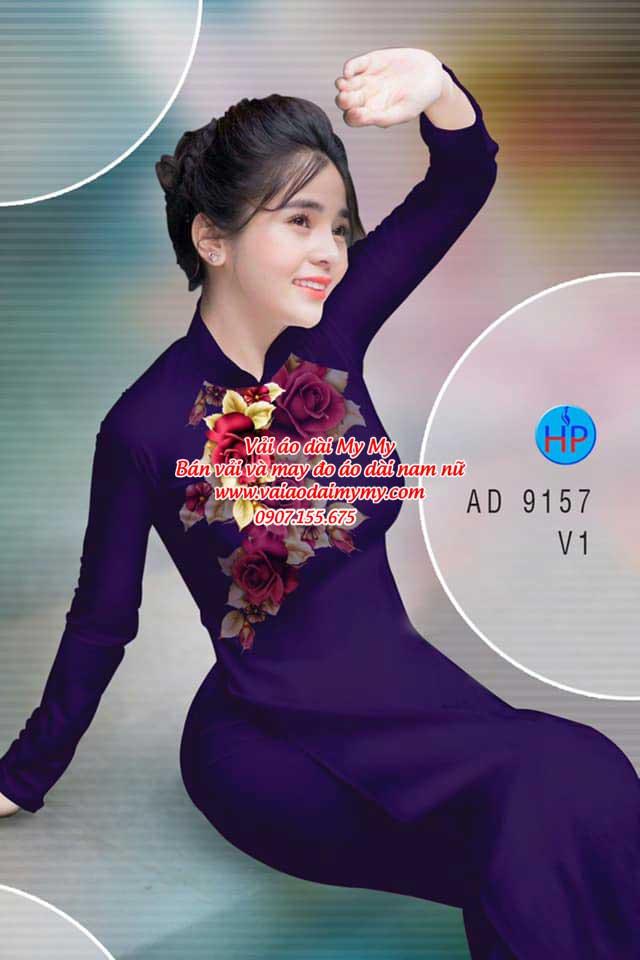 Vải áo dài Hoa Hồng 8/3 AD 9157 10