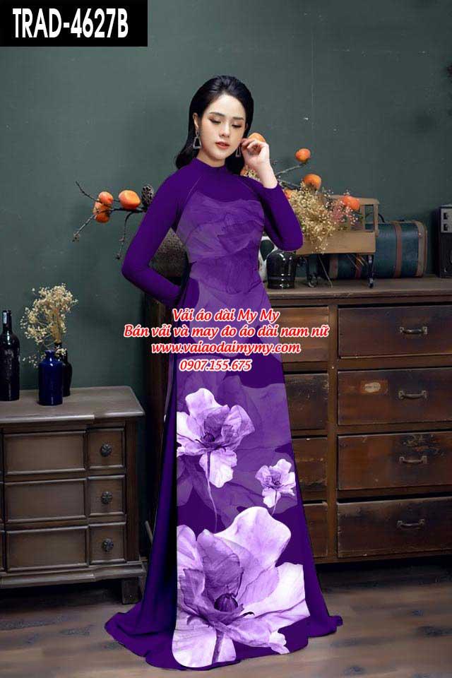 Vải áo dài hoa 3D AD TRAD 4627 3