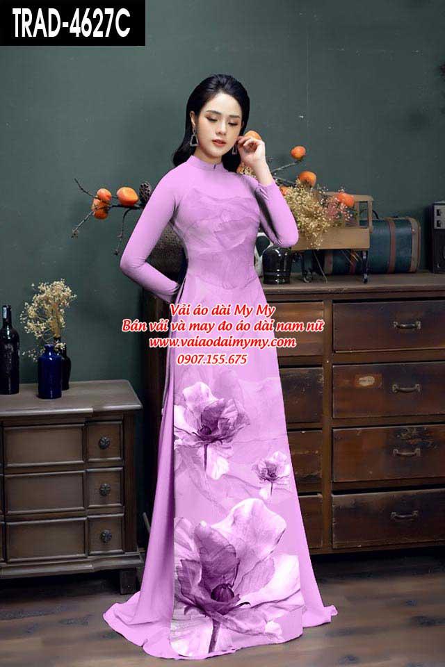 Vải áo dài hoa 3D AD TRAD 4627 2