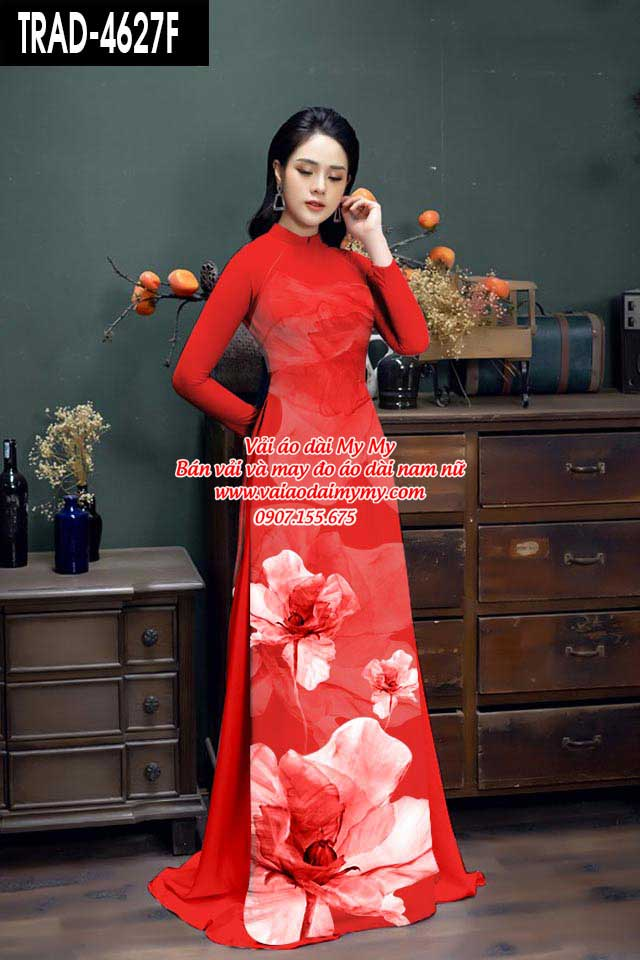 Vải áo dài hoa 3D AD TRAD 4627 6