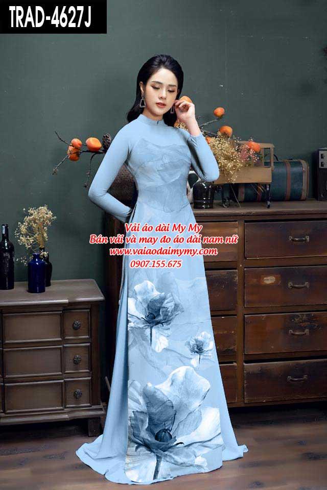 Vải áo dài hoa 3D AD TRAD 4627 9