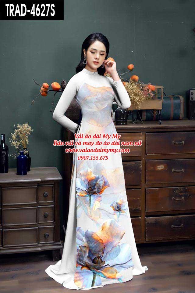 Vải áo dài hoa 3D AD TRAD 4627 15