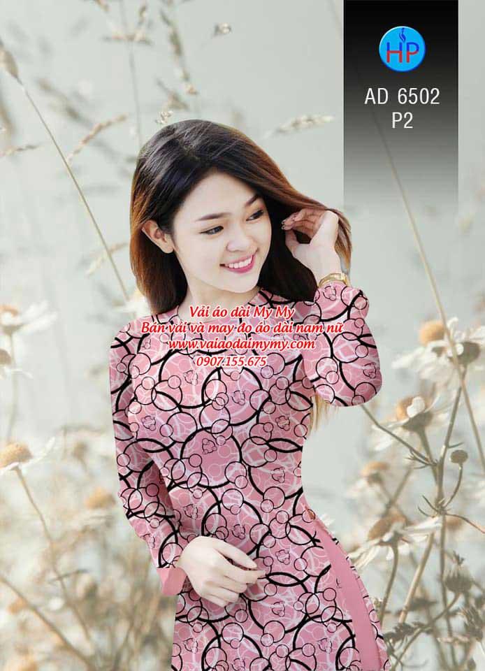 Vải áo dài Vòng tròn đan xen AD 6502 1