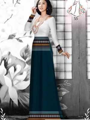 Vải áo dài hoa văn thổ cẩm AD 10044 34