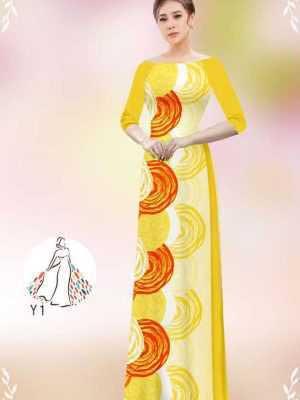 Vải áo dài hoa văn tròn AD 14449 20