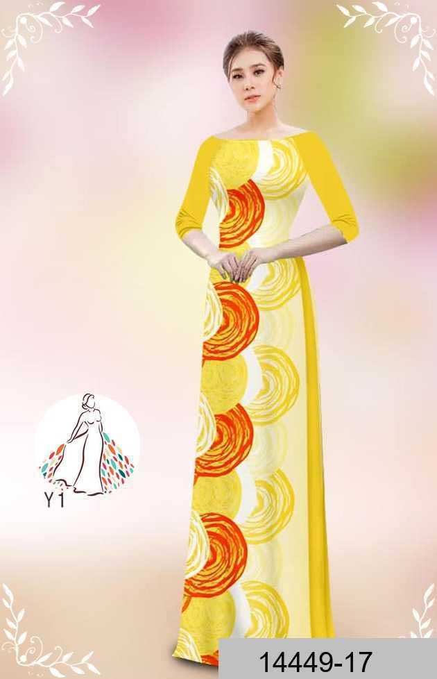 Vải áo dài hoa văn tròn AD 14449 39