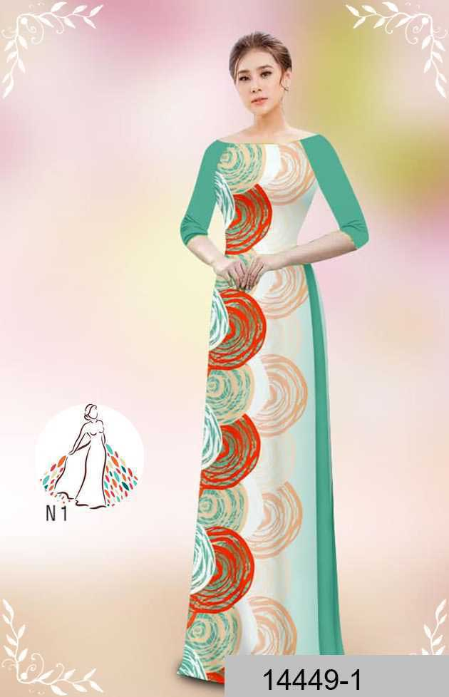 Vải áo dài hoa văn tròn AD 14449 40