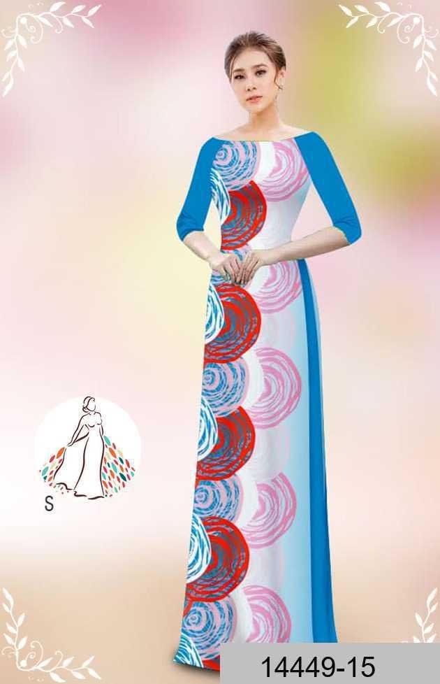Vải áo dài hoa văn tròn AD 14449 42