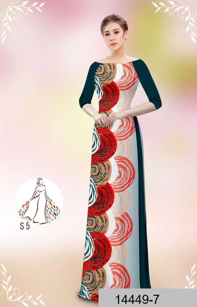 Vải áo dài hoa văn tròn AD 14449 37