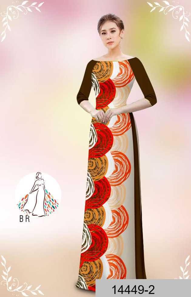 Vải áo dài hoa văn tròn AD 14449 38