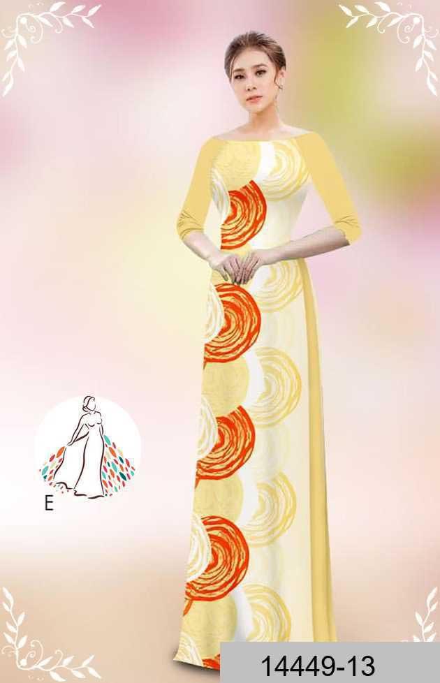 Vải áo dài hoa văn tròn AD 14449 47