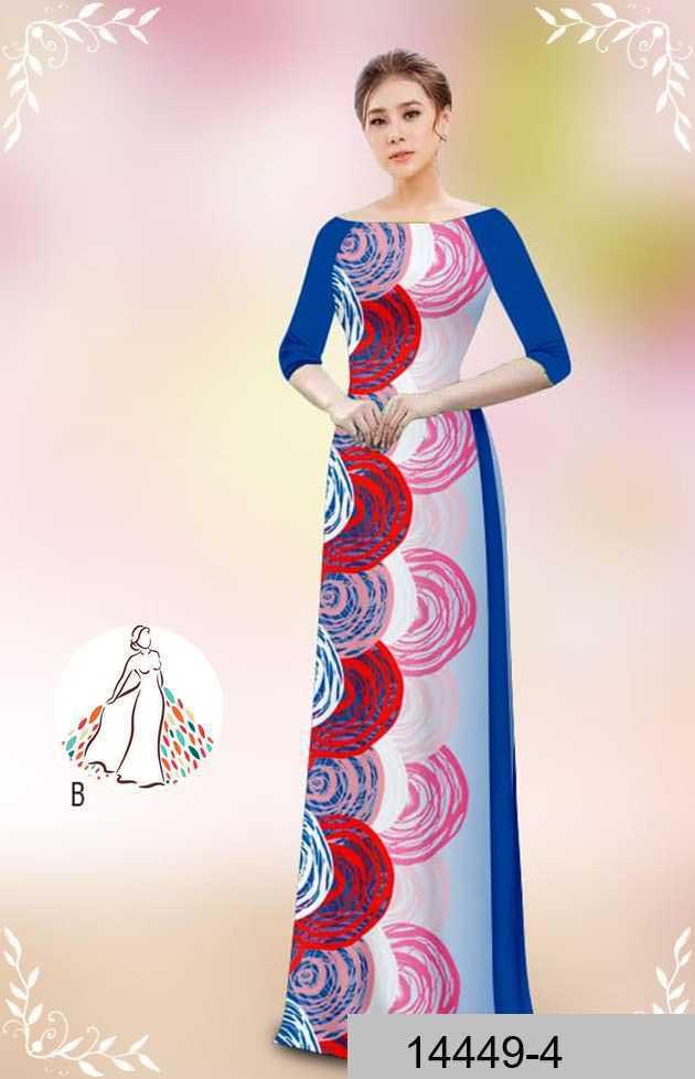 Vải áo dài hoa văn tròn AD 14449 44