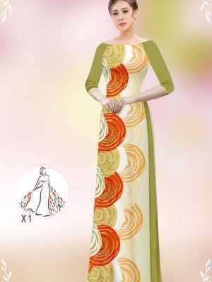 Vải áo dài hoa văn tròn AD 14449 27