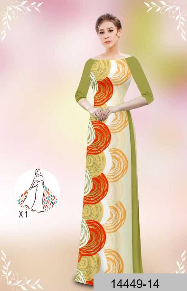 Vải áo dài hoa văn tròn AD 14449 46