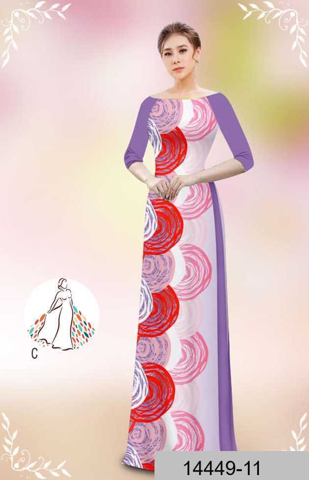 Vải áo dài hoa văn tròn AD 14449 50