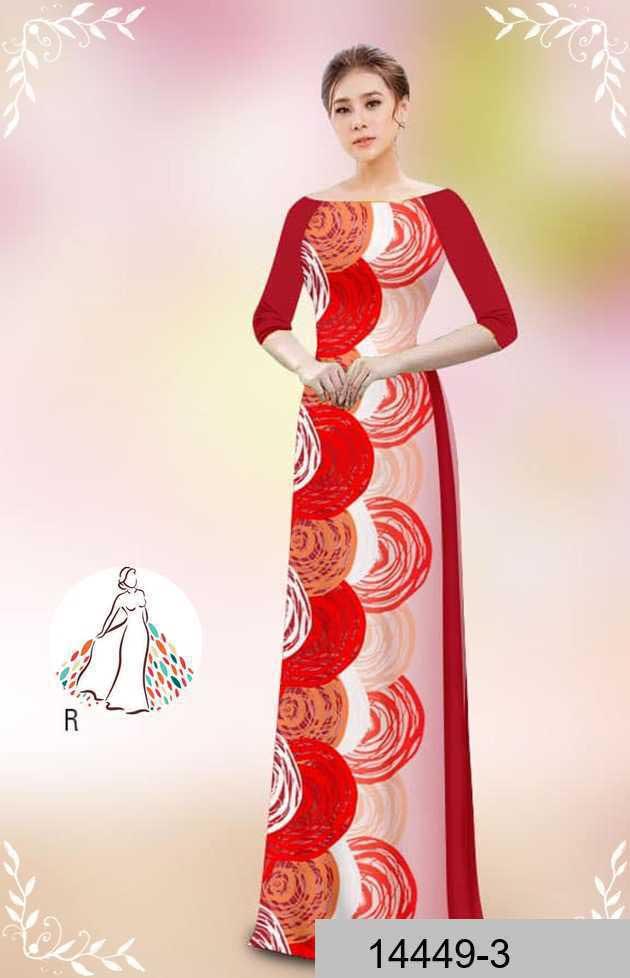 Vải áo dài hoa văn tròn AD 14449 51