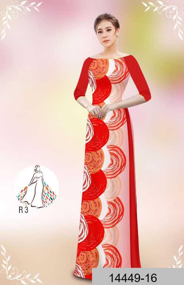 Vải áo dài hoa văn tròn AD 14449 52