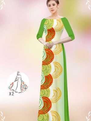 Vải áo dài hoa văn tròn AD 14449 35