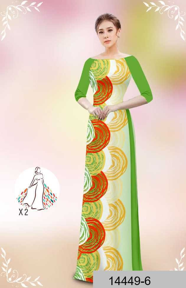 Vải áo dài hoa văn tròn AD 14449 53