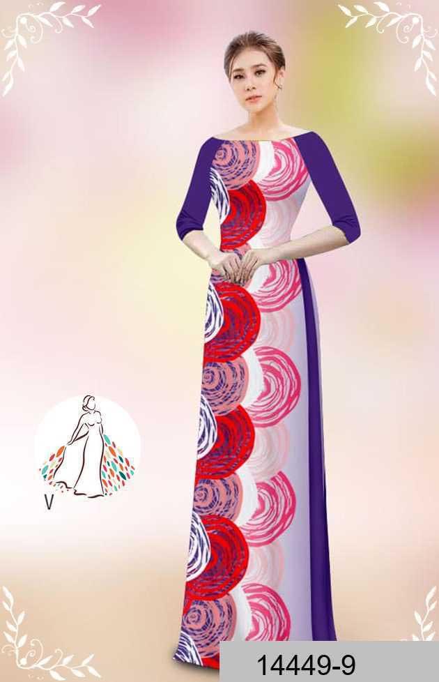 Vải áo dài hoa văn tròn AD 14449 54