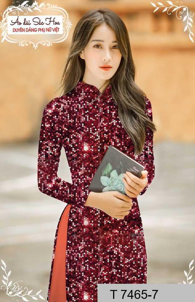 Vải áo dài lấp lánh 3D AD T7465 35