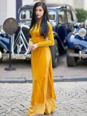 Vải áo dài nhung màu Vàng AD NHUNGVANG 5
