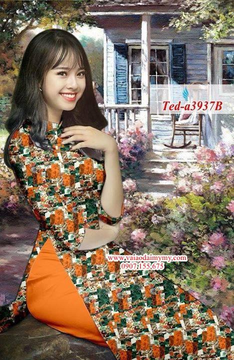 Vải áo dài hoa đều AD TED a3937 4