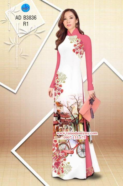Vải áo dài hoa Phượng trong kỷ niệm AD B3836 3