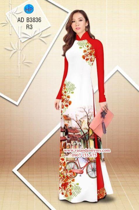 Vải áo dài hoa Phượng trong kỷ niệm AD B3836 1