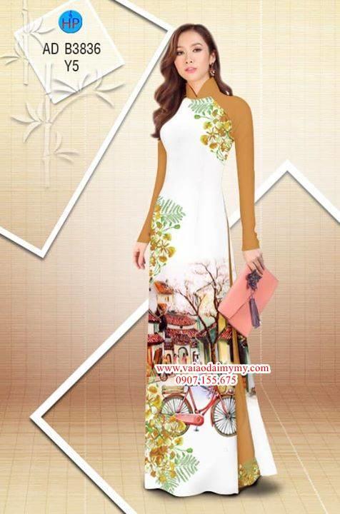 Vải áo dài hoa Phượng trong kỷ niệm AD B3836 2
