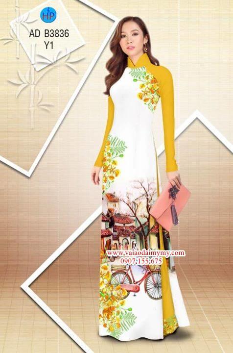 Vải áo dài hoa Phượng trong kỷ niệm AD B3836 6